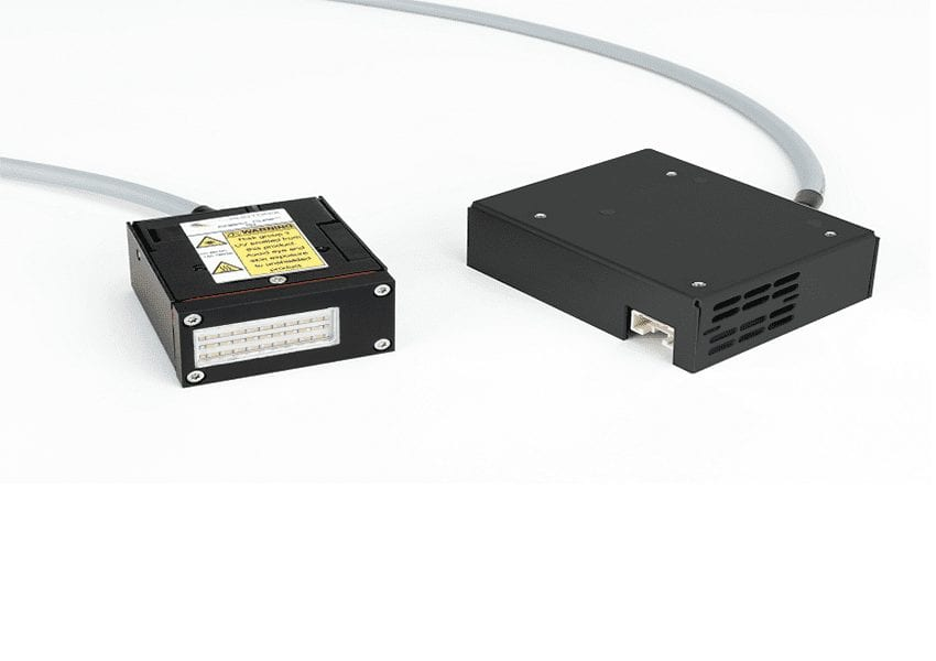 Low Weight, Compact, Fan-Cooled UV LED Curing System delivering up to 6W/cm2
